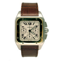 Cartier Santos Watch with gold bezzel and brown strap