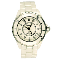 White Chanel Watch with green bezzels