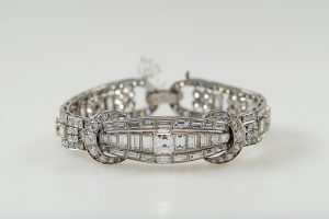 White Gold baguette and brilliant cut diamond set bracelet