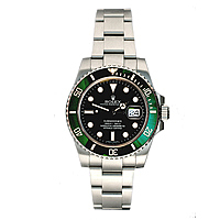 Silver rolex submariner with green bezel