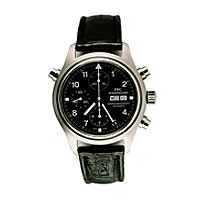 Doppelchronograph Watch with silver bezzels and black strap