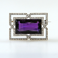 18ct Art Deco emerald cut Amethyst and diamond set plaque brooch