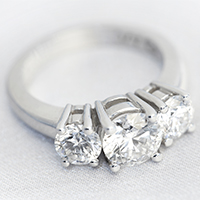 Platinum Three Stone diamond ring