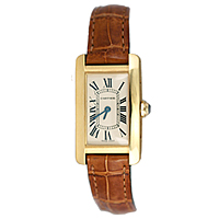 Cartier Tank Americain Watch with brown leather strap