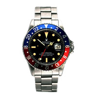 Rolex GMT Master watch with 40mm case and Blue and Red Bezel