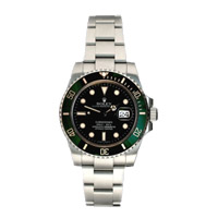 Silver Rolex with Green bezels