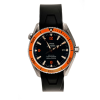 omega seamaster planet watch with orange bezzels and black strap