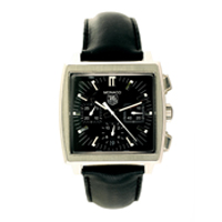 Monaco Watch with silver bezzels and black strap