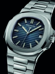 Silver Patek Philippe Nautilus watch with 42mm case and silver bezzels
